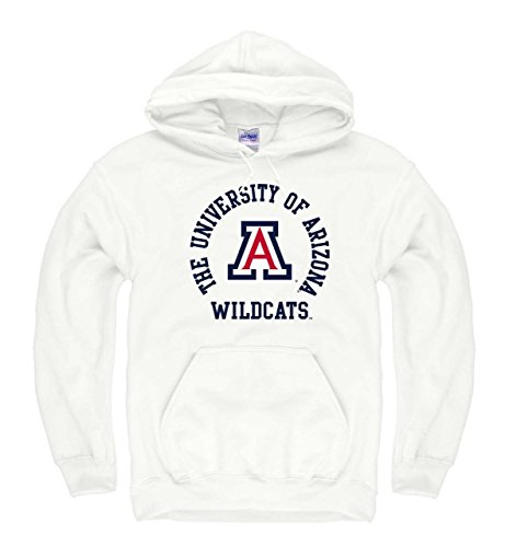 Campus Hooded Sweatshirt - Campus Colors Arizona Wildcats Adult NCAA Team Spirit Hooded Sweatshirt - White, Medium