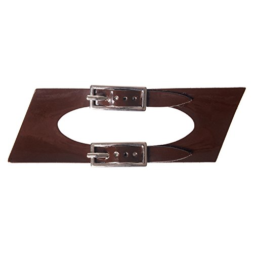 Sew On Faux Leather Tab Closure Adjustable Double Strap Patent Brown Tab and Nickel Buckles (1pc)