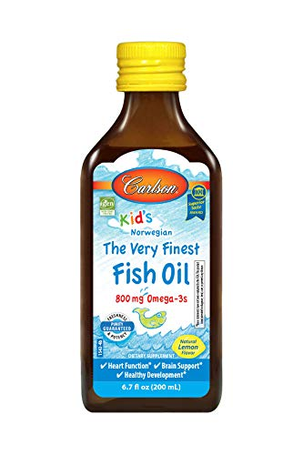 Carlson - Kid's Very Finest Fish Oil, 800 mg Omega-3s, Norwegian, Sustainably Sourced, Lemon, 200 ml (Best Fish Oil For Kids With Adhd)