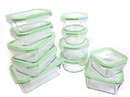 Kinetic 22 Piece (54oz, 35oz, 30oz, 28oz, 15oz, 14oz,13oz) GoGreen Glassworks Oven Safe Glass Food Storage Container Set with Leak Proof Lids; (11 Containers and 11 ()
