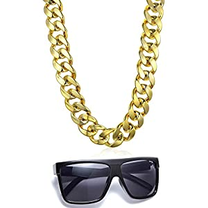 VALIJINA 80s 90s Hip Hop Costume Jewelry for Women Men Gold Acrylic Chain Necklace Sunglasses Rapper Punk Style Costume Kit
