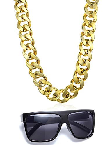 VALIJINA 80s 90s Hip Hop Costume Jewelry for Women Men Gold Acrylic Chain Necklace Sunglasses Rapper Punk Style Costume Kit -