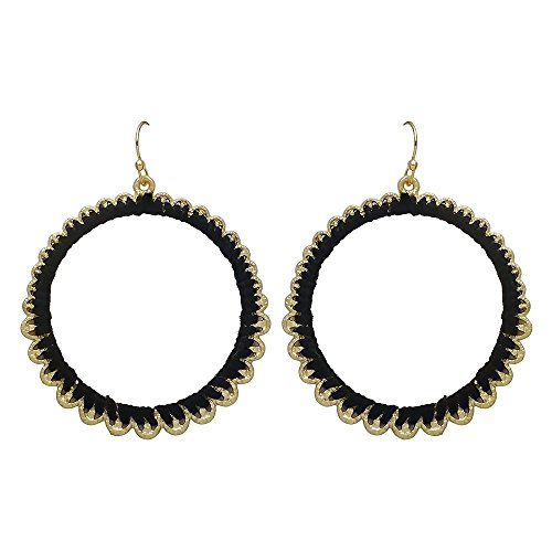 Seraphina New York Cotton Thread Wrapped Open Circle Drop Fish Hook Women's Earrings (Black) (Black Earring Fish)