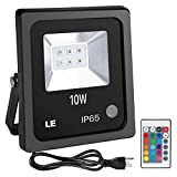 LE Outdoor Led Flood Lights, IP65 Waterproof, 10W RGB, 16 Color Changing, 4 Lighting Modes, Plug in Security Lights with Remote Control, for Home, Backyard, Patio, Garage and More