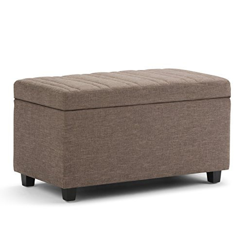 Simpli Home AXCOT-259-BRL Darcy 34 inch Wide Contemporary  Storage Ottoman in Fawn Brown Linen Look Fabric ()