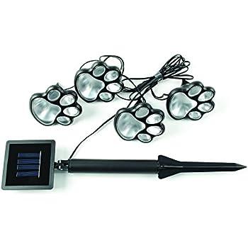 IdeaWorks JB7356 Solar Paw Print Lights (Set of 4), Black