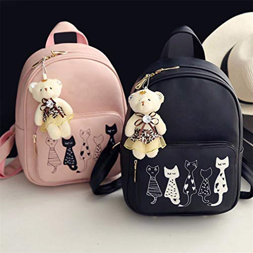 Printed Pu Backpacks Black Lady Shoulder Travel 4Pcs Bag Leather Backpack Women Purse Clutch Simple Cat CIxYxZwq5