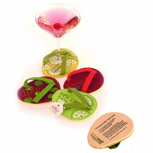 Drinkwear, Flip Flop Coasters, Set of 4 (Cocktail Party)