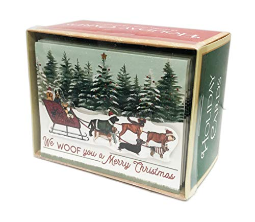 (We Woof you a Merry Christmas Festive Multi Dog Breeds on Santa's Sleigh Embellished Box of 18 Christmas Holiday Greeting Cards & Coordinating Envelopes)