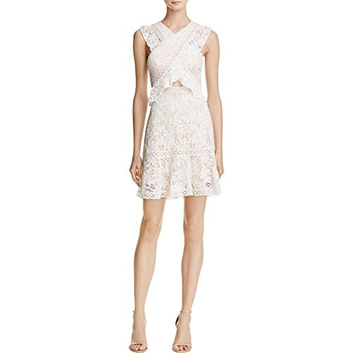 BCBG Max Azria Womens Careen Lace Criss-Cross Front Cocktail Dress Ivory 8 by BCBGMAXAZRIA