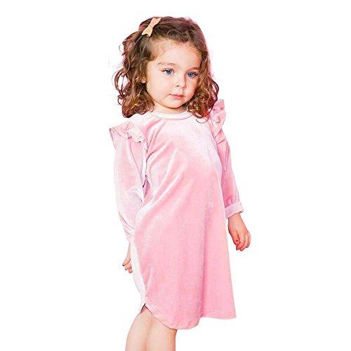 Omiky® Kleinkind-Säuglingskind-Baby-Mädchen-lange Hülsen-feste Oberseiten-Kleid-Ausstattungs-Kleidung Rosa