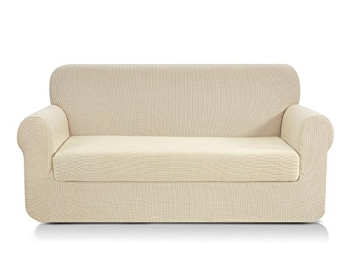 CHUN YI 2-Piece Jacquard Stretch Sofa Slipcover, Furniture Protector Cover for Sofa and Couch Polyester and Spandex 3 Seater Cushion Settee Cover Coat (Sofa, Ivory White)