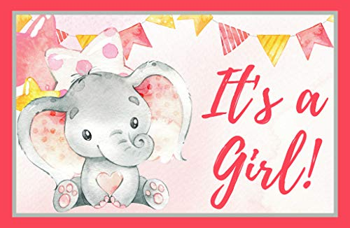 (Its a Girl Elephant Baby Shower, Gender Reveal, Welcome Baby Home 11 x 17 Poster, Baby Shower Decorations, Supplies, Banner, Hospital Door Decor- Pink & Gray)