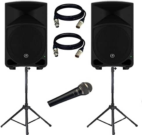 Mackie THUMP12 Thump Series 12-Inch Powered Loudspeaker (PAIR) With (2) Xlr to Xlr Cables 20ft ea / (Pair) Speaker Stand w/ Bag + Novik MIC.