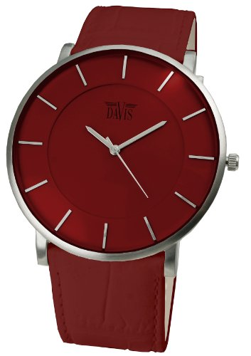 Davis 0912 - Mens Womens Design Ultra Thin Watch Red Dial Red leather Strap by Davis