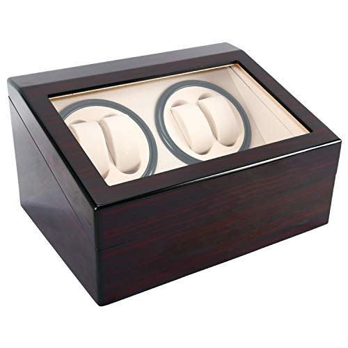 Homend Luxury 4+6 Automatic Watch Winder Deluxe Wooden Dual Automatic Motor Rotating Watches Display Storage Box