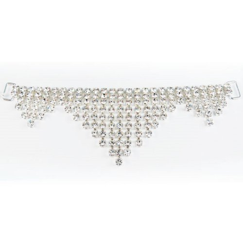 (Mode Beads Rhinestone Hanging Triple Triangle Connector, 6.5-Inch, Crystal/Silver)