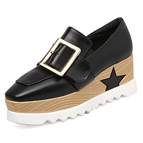 d94fdfb47c4a86 hot sale Hehainom Women s Square Toe Buckle Strap Slip On Platform Loafer  Shoes