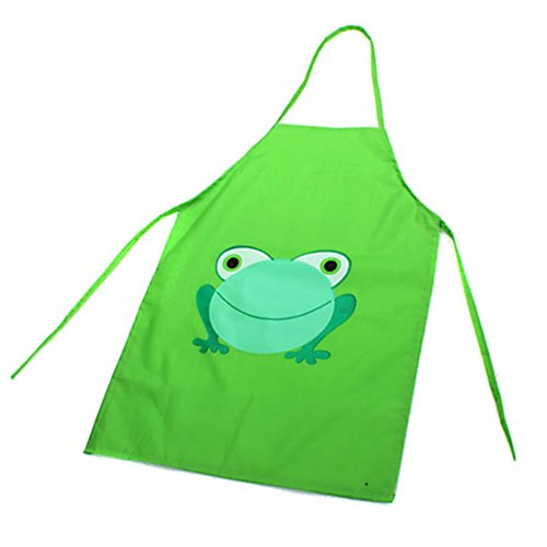 Price comparison product image Lovely Kids Children Baby Girls Cartoon Frog Printed Waterproof Cooking Apron (Green)
