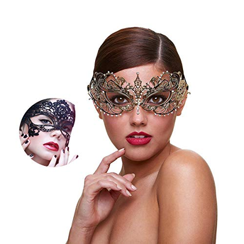 (Masquerade Mask for Women Shiny Rhinestone Venetian Party Prom Ball Metal Mask (Golden)
