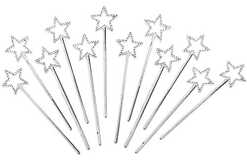 Mini Fairy Star Princess Wands Pack of 12 - 5 Inches, Color Silver, Star Shape with Beads - for Kids, Birthday, Halloween, Princess, Costume, Themed Party, Prize - by Kidsco
