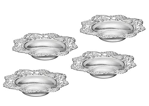 Impressive Creations Reusable Decorative Serving Dish - Plastic Candy Dish with Elegant Silver Finish - Functional and Vintage Design