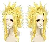 Anogol Hair Cap+Cosplay Wig Short Layered Yellow
