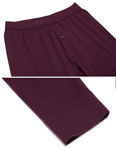 Langle Men's Long Sleepwear Soft Cotton Elastic Waist Pajamas Set (Dark Red, XXL) by Langle (Image #5)