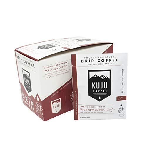 Kuju Coffee Pocket PourOver - Single-Serve Pour Over Coffee - Made with Premium Single Origin Coffee - 10-pack | Papua New Guinea - Eastern Highlands …