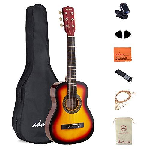 ADM Starter Guitar 30 Inch Acoustic Beginner with Carrying Bag, Tuner, Picks, Strap, Sunburst