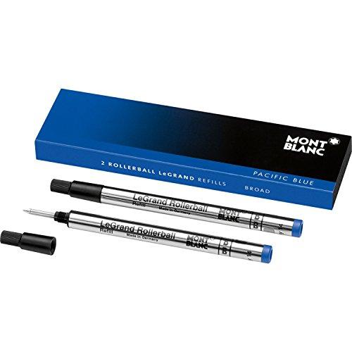 Montblanc Rollerball LeGrand Refills (B) Pacific Blue 113841 - Pen Refills for Meisterstück LeGrand Rollerball Pens with a Broad Tip - 2 x Blue Pen Cartridges ()