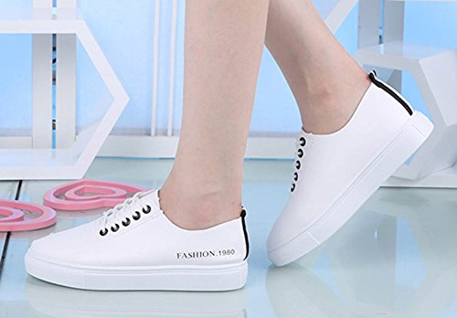 Round Platform Skateboard Lace Aisun Womens Up Flats Shoes Low Popular Tops Black Casual Sneakers Toe 4fa7W8Xt7