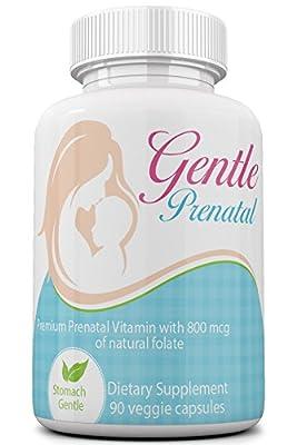 Gentle Prenatal Vitamins with Natural Folate (Methylfolate), Low Nausea Formula from Maternal Balance