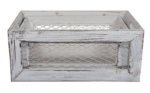 Cheung's FP-3889-2W Set of 2 Wood Crate with Chicken Wire Sides, Shabby Brown, 2 Piece
