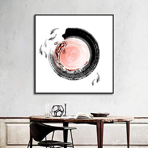 Llxhg伝統的なスクロール中国絵画のキャンバスポスターとプリントインク日本のIの壁の写真のリビングルーム-60 X 60 C