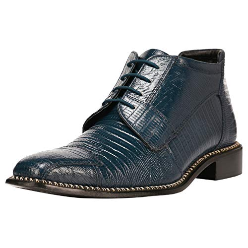 Liberty Men's Leather Ankle High Top Lizard Print Lace Up Dress Shoes (15 D(M) US, Navy Blue)