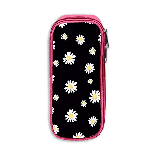 Pen Bag Pencil Case Daisy Yellow Flower Pen Case Pencil Bag Durable Students Stationery with Double Zipper Pink -