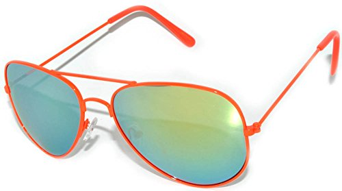 Spring Hinge Aviator Mirrored Lens Sunglasses Neon Orange
