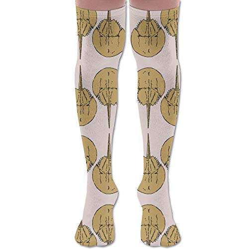 (WUZISGFH Unisex Outdoor Adult Sport Over-The-Calf Long Tube Stockings Crew Socks - Travel & Flight Horseshoe Crabs On Pink Giftwrap (8185) Socks)