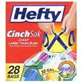 Hefty Trash Bag 30 Gal. 1.1mil Plastic Clear