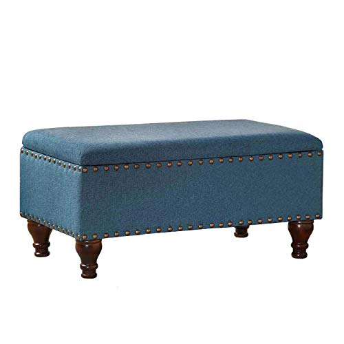 HomePop Linen Storage Bench with Nailhead Trim and Hinged Lid, Blue