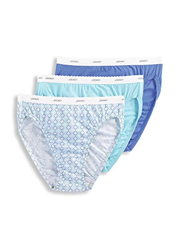 Jockey Women's Underwear Classic French Cut - 3 Pack, Light Teal/Graceful Tile/Iris Blue, 6 -