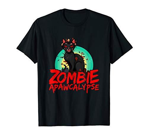 Zombie Cat APAWCALYPSE Halloween T-Shirt Kittie Pun Costume -