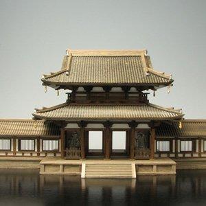 プラッツ 1/100 法隆寺中門 (回廊付き) 木製建築模型 プラモデル