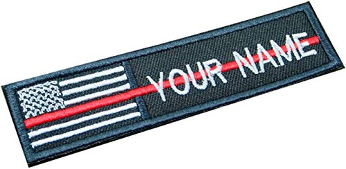 - new brand Custom Name Text Thin RED LINE Firefighter American Flag Embroidered 4x1 inch Patch Hook Backing