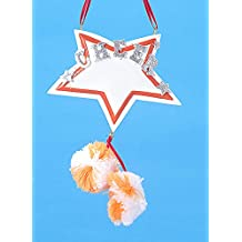Orange and White Star with Pom-Pom's Cheerleader Christmas Ornament #W3765OW