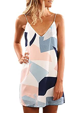 EVALESS Womens Summer Sexy Color Block Geometric Print Beach Boho Shoulder Straps Short Dress X-Large