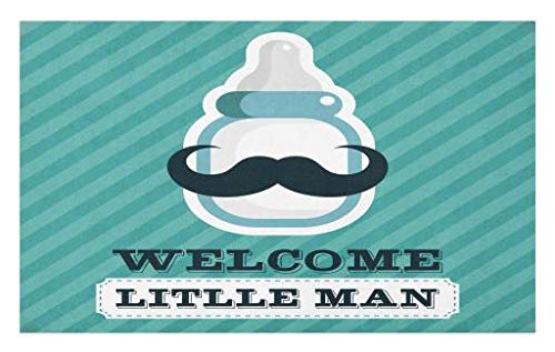 Theme Personalized Milk Bottles - Lunarable Baby Shower Doormat, Milk Bottle with a Mustache Welcome Little Man Quote on Stripes, Decorative Polyester Floor Mat with Non-Skid Backing, 30 W X 18 L Inches, Teal Dark Blue White