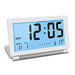 Smart Digital Travel Alarm Clock Silent Large LCD,Portable Folding Desktop Clock Table Bedside Small Clock with Blue Night light,Battery Operated,Calendar & Temperature Display