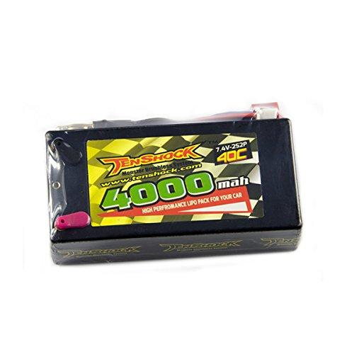 Tenshock Hardcase Car Pack 4000MAH,40C,7.4V 2S2P Standard Hardcase Lipo Battery with T Plug for 1/10 RC Car Truck Model Traxxas Slash Emaxx Bandit